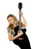 Damegitarrist Lizenzfreie Stockfotografie