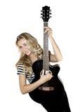 Damegitarrist Lizenzfreie Stockbilder