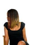 Damehaar im Gesicht auf Stuhl Lizenzfreie Stockbilder
