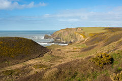 Damehole Point. View from Damehole Point Hartland looking towards Hartland Point lighthouse Devon Uk Stock Images