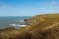 Damehole Point. View from Damehole Point Hartland looking towards Hartland Point lighthouse Devon Uk Royalty Free Stock Photos