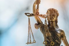 DameJustice standbeeld Justitia, Justicia stock afbeelding