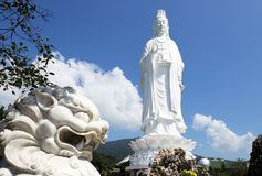 Damen Buddha Statue bodhisattvaen av förskoning på Linh Ung Pagoda i den Danang Da Nang Vietnam Royaltyfria Bilder