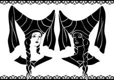 Damen in den mittelalterlichen Hüten Stockbild