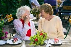 Damen, die Tee und Kuchen im Café genießen Stockfoto