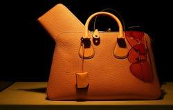 Damen Handtasche und sunglass Lizenzfreie Stockbilder