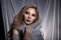 Damen i stjärnabakgrund med förhängegrå färgsilver blänker tygmummel arkivbild