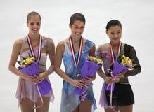 Damen Medallists-ISU großartiges Prix von der Abbildung Eislauf Stockfoto