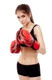 Damenboxer mit Handschuhen Lizenzfreies Stockbild