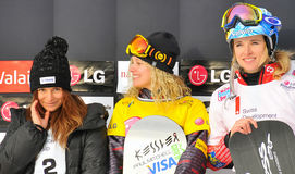 DamenFIS Snowboard-Weltcupsnowboard-Kreuz Lizenzfreies Stockbild