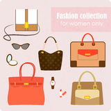 Damenmodesammlung Taschen und Zubehör Stockfoto