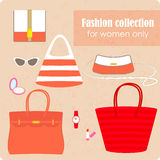 Damenmodesammlung Taschen und Zubehör Lizenzfreies Stockfoto