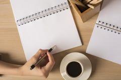 Damenschreiben in der Notizblockspitze Stockfoto