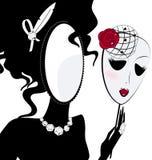 Damenspiegel mit Maske Stockbild