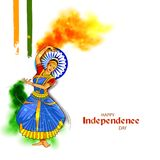 Damentänzer auf indischem dreifarbigem Hintergrund für 15. August Happy Independence Day von Indien vektor abbildung