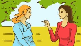 Damer för tecknad film som två talar sammanträde på en bänk i parkera Arkivfoton