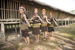 Damer från den Rungus person som tillhör en etnisk minoritet som bär den traditionella dräkten Arkivfoto