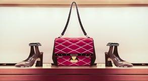 Damer handväska och skor Arkivfoto
