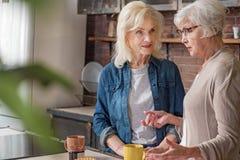 Dames âgées en bonne santé parlant dans la chambre de cuisinier Photographie stock