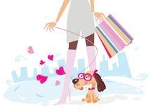 Dames bij het winkelen royalty-vrije illustratie