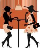 Dames bij koffie Stock Afbeeldingen