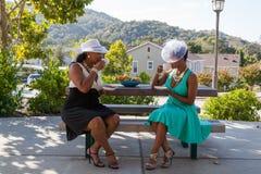 Dames du sud ayant le thé au parc Image libre de droits