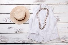 Dames elegante vest en hoed stock fotografie