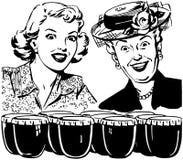 Dames enthousiasmées illustration de vecteur