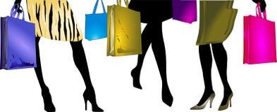 Dames gaan winkelend Vector Illustratie