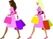 Dames na het winkelen Stock Afbeelding