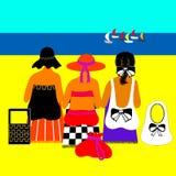 Dames op strand met jachten. Stock Afbeelding