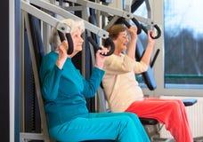 Dames pluses âgé en bonne santé dans l'exercice de presse de coffre Images stock