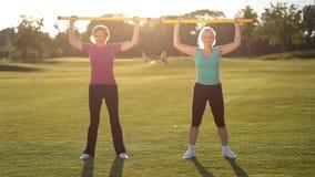 Dames sportives faisant l'exercice de forme physique avec fitbar banque de vidéos
