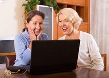 Dames supérieures avec l'ordinateur portable Images stock