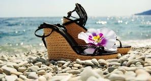 Dames wig-gehielde schoenen op de zeekust Royalty-vrije Stock Afbeeldingen