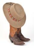 Damescowboy Boots en Hoed. Royalty-vrije Stock Foto's