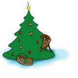 Damhinde en Kerstboom Stock Foto's