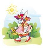 Damhirschkuh-Kaninchen und Blumen Lizenzfreie Stockfotografie