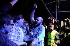 Damian Abraham, alias rosa Augen, Sänger Fucked hoher Band, führt an Ton-Festival 2013 Heinekens Primavera durch Stockfoto