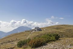 Damiano-Chiesa hut in the Monte Baldo area Stock Photo