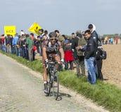 Damien Gaudin- Paris Roubaix 2014. Carrefour de l'Arbre,France-April 13,2014:The French cyclist Damien Gaudin from Ag2r-La Mondiale Team riding on the famous Stock Photo