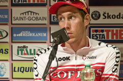 Damien Monier Press Conference Giro d'italia. Giro d'Italia 2010 in Pejo Terme. The winner Damien Monier, Cofidis Team Royalty Free Stock Images