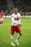 Damien Perquis (FC Sochaux). WARSAW, POLAND - FEBRUARY 29: Damien Perquis (Poland, FC Sochaux) during the friendly football match between Poland vs Portugal on stock photography