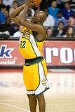 Damien Wilkins Shoots. Damien Wilkins of the Seattle Super Sonics takes a shot during a game against the Detroit Pistons at the The Palace Of Auburn hills during Royalty Free Stock Photo