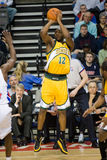 Damien Wilkins Takes A Shot. Damien Wilkins of the Seattle Super Sonics takes a shot during a game against the Detroit Pistons at the The Palace Of Auburn hills Royalty Free Stock Photography