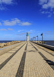 Damietta lighthouse at Ras El Bar,Egypt. Damietta lighthouse Located at the end of the west breakwater at the entrance to the Damietta Branch of the Nile Stock Photos