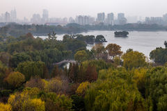 Daming Lake in Autumn, Jinan, China. Daming Lake seen from the top of Chaoran Tower in Autumn, Jinan, China Stock Photography