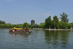 Daming Lake in Jinan stock afbeelding