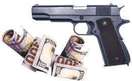 Damit das Geld illegal Waffen von der Mafia kauft Stockfotografie