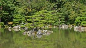 Damm av den Kinkaku jien, guld- tempel i Kyoto Arkivbild